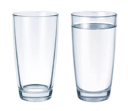 빈 유리와 흰색 배경에 절연 물 유리