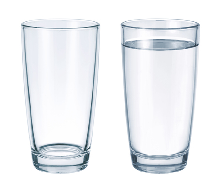 Empty glass and glass with water isolated on white background 版權商用圖片
