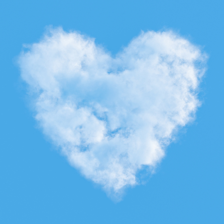 Cloud in shape of heart against blue sky. 3D illustration. Banco de Imagens