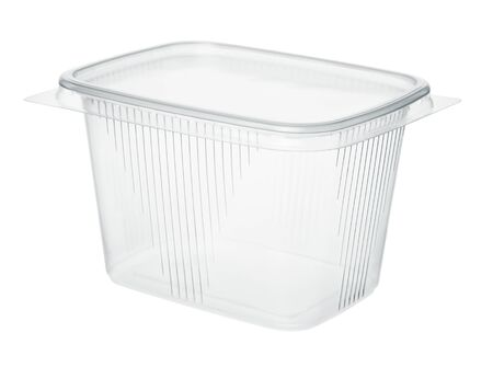 Plastic food container isolated on white background.