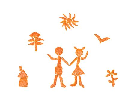 Figures of orange peel. Symbols of happiness and family well-being.