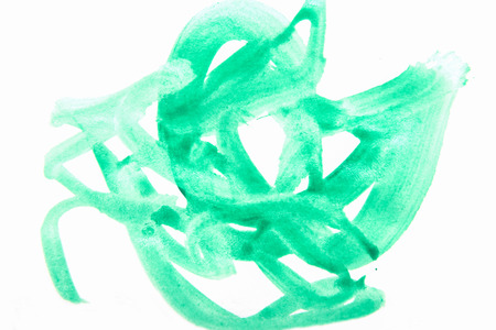 chaotic brush strokes of green paint on white paper
