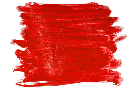 Brush stroke of red paint on white background Stock Photo