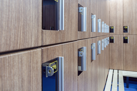 lockers for clothes in the locker room fitness club