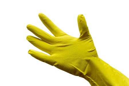 Hand in a yellow rubber glove on a white background. Cleaning service banner mockup.