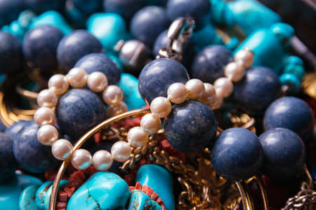 Women's precious jewelry. gemstone beads, gold rings and pearl necklaces 版權商用圖片