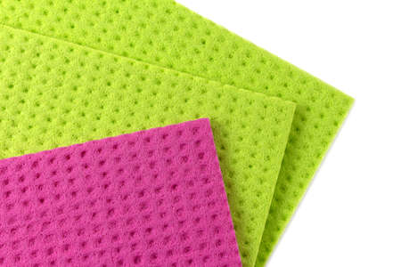 Pink and green soft absorbent viscose household wipes isolated on a white background. Cleaning rags
