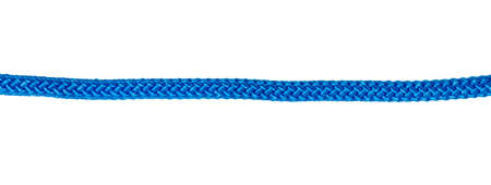 Thick blue braided rope for mountaineering and belaying on white background in panoramic format. Rope in line 版權商用圖片