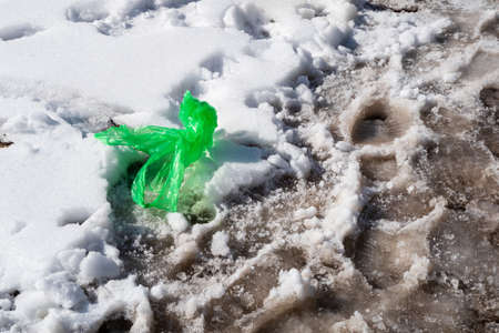Crumpled empty green plastic bag thrown into the snow. Garbage and footprints in the melting snow