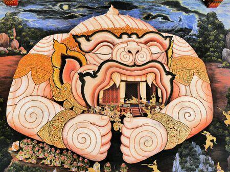 gold: Monkey in thai temple Stock Photo