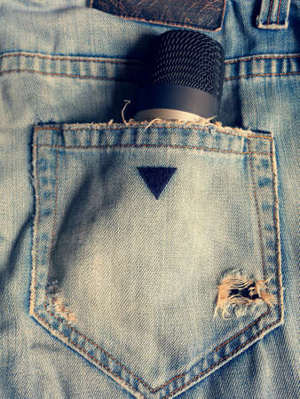 jeans: Micro in my back poket jeane Stock Photo