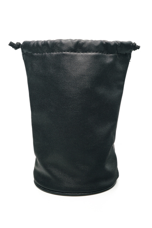 packet: black leather pouch for len camera Stock Photo