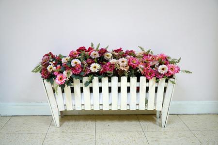 flower in wood box