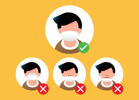 How to wearing protective mask correctly. right way to avoiding air pollution or avoiding viruses or illness. vector illustration