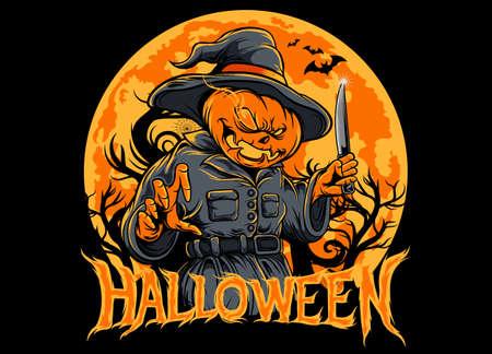 Halloween pumpkin scarecrow holding a knife. Jack-o'-lantern. big moon yellow and orange. silhouette dead tree. silhouette bat.vector illustration