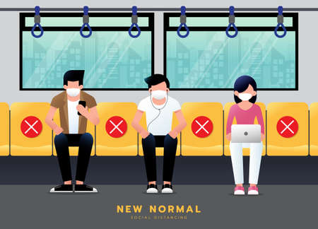 New normal lifestyle concept. Social distancing in BTS sky train. Passenger wearing medical mask sit keeping distance to protect from COVID-19 coronavirus spreading. vector illustration.