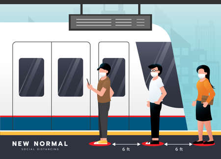 New normal lifestyle concept. Social distancing at BTS sky train. Passenger wait in line wearing medical mask stand keeping distance to protect from COVID-19 coronavirus spreading. vector illustration.
