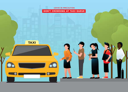 Do not crowding at taxi queue. passengers avoid congestion each other and wearing medical face mask. after pandemic of corona virus or COVID-19. travel and business. Vector illustration