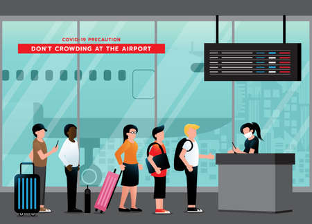 Do not crowding at the airport. avoid congestion at queue for checkpoint at boarding gate. passengers keep wearing medical face mask and after pandemic of corona virus or COVID-19. airport for travel and business. Vector illustration Ilustração