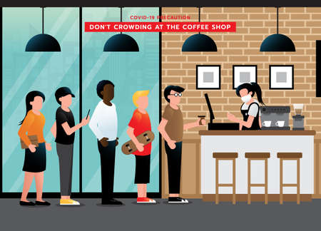 Do not crowding at coffee shop. avoid congestion at queues when waiting. keep wearing medical face mask and the distance after pandemic of corona virus or COVID-19. Vector illustration