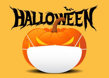 Halloween Jack O Lantern pumpkin wearing medical face mask on yellow color background. silhouette bat. corona virus or COVID-19. For Halloween 2020. vector illustration Vector Illustration
