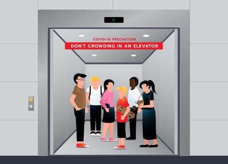 Do not crowding in Elevator. People avoid congestion while standing in lift. keep wearing medical mask for prevent coronavirus. Vector illustration