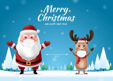 Social distancing with Santa Claus and Reindeer with surgical mask. Merry Christmas and Happy New Year. COVID-19 and Corona virus protection. Vector illustration.