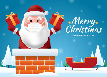 Santa Claus wearing a protective face mask coming Chimney on the roof,to give children a gift with snowing, Merry Christmas and Happy New Yearon blue background