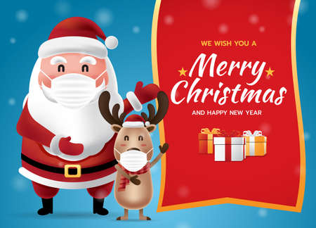 We wish you a Merry Christmas and Happy New Year with Santa Claus wearing medical mask holding a Christmas gift box with snow tree and blue background. Vector illustration. Ilustrace