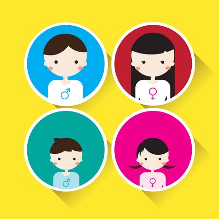 flat character: Family Flat Character Vector : for Your Works Illustration