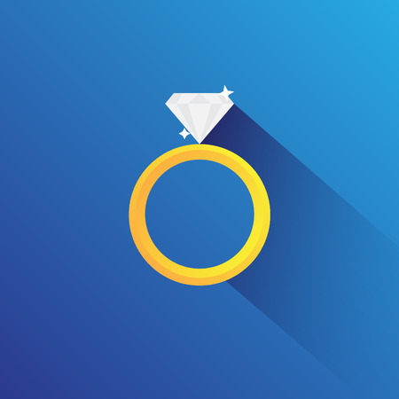 faceting: Diamord Ring Flat Vector Illustration
