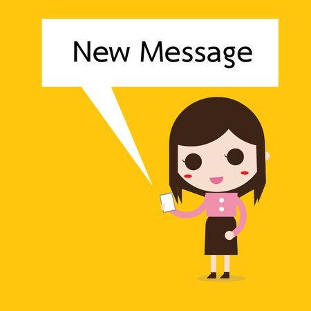 zakelijke vrouw: business woman reading a text message