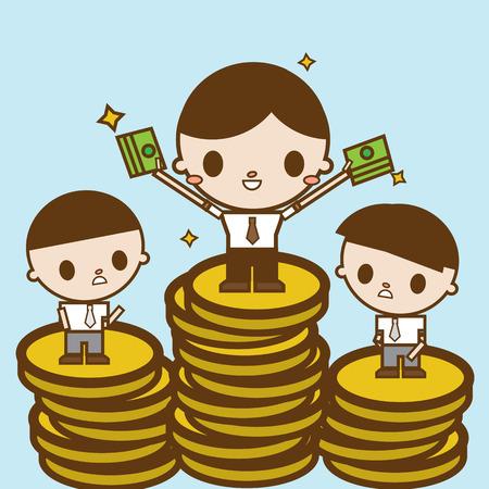 unequal: Salary variation. Business concept cartoon illustration