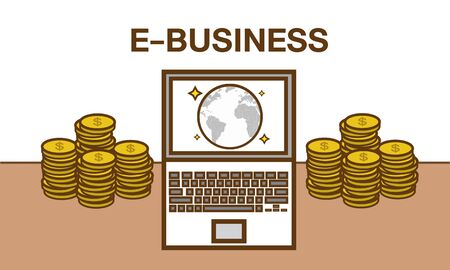 ebusiness: E-Business. Flat design illustration. Make money from computer and internet Illustration