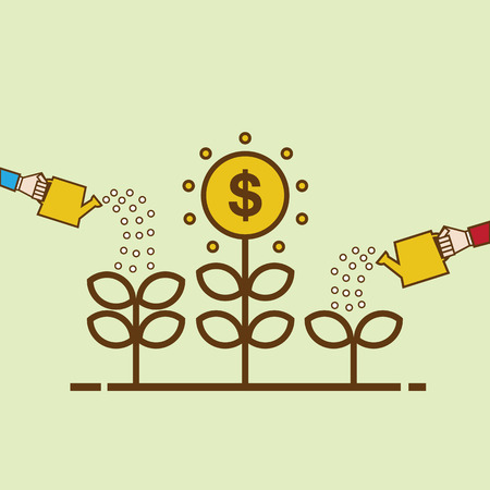 tree line: Money Growth. Flat design illustration. Business person watering money tree