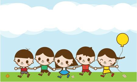 summer day: Happy cartoon kids running outdoor on a summer day