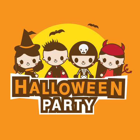 halloween party banner kawaii costume stock vector 47950967