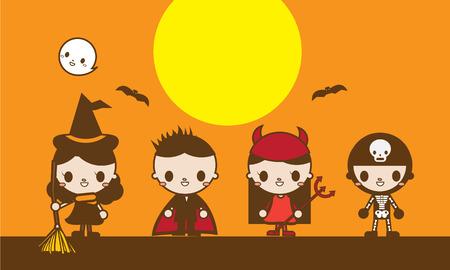 costumed: Kawaii Cute Halloween Costumed Kids