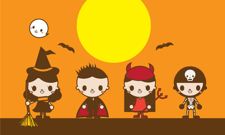 Kawaii Cute Halloween Costumed Kids