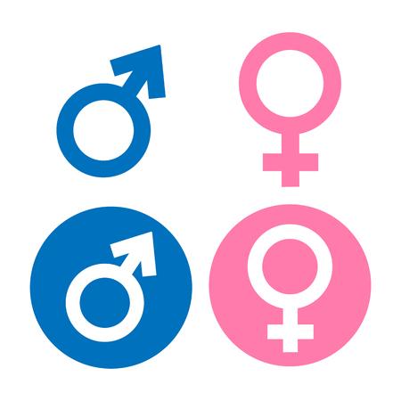 sexo femenino: Símbolo masculino y femenino plana del color dulce