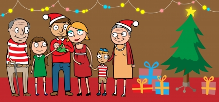 kin: Cartoon vector illustration of big happy family celebrating at home by christmas tree with presents Illustration