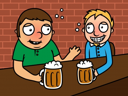 Vector illustration of two adult men sitting in a bar and drinking beer