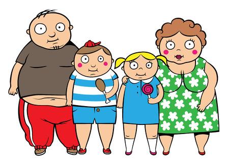 Cartoon vector illustratie van vet overgewicht familie, kinderen met ouders