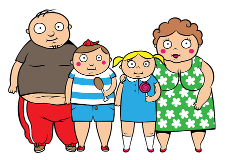 Cartoon vector illustration of fat overweight family, children with parents