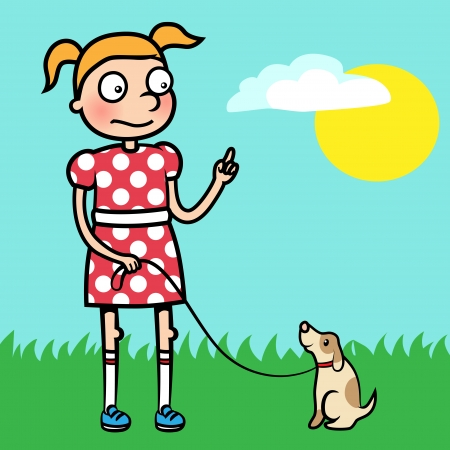 Caroon vector illustration of a young girl training obedience with her well behaved puppy