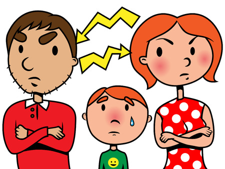 upset woman: Illustration of parents arguing and their son crying