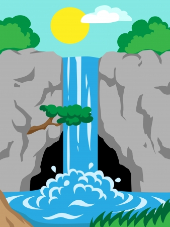 Vector illustration of a waterfall in the mountains Vector
