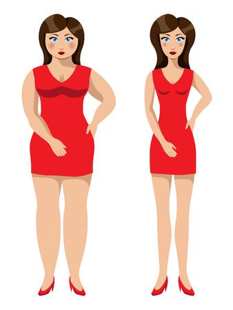 illustratie van een mooi meisje voor en na een gewichtsverlies
