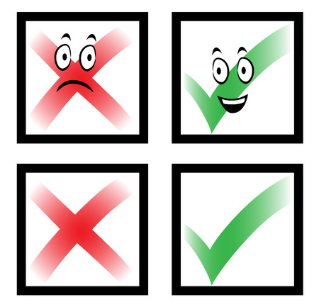 Illustration of a tick and cross marks in boxes with funny cartoon faces