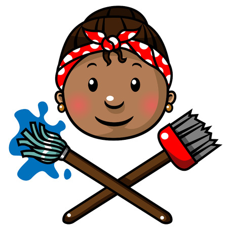illustration of a cleaning lady Vector